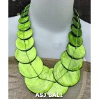 bali capiz shells necklaces mono color green