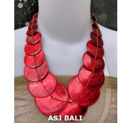 capiz shells necklaces mono color red color