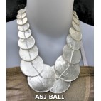 bali capiz shells necklaces mono color white