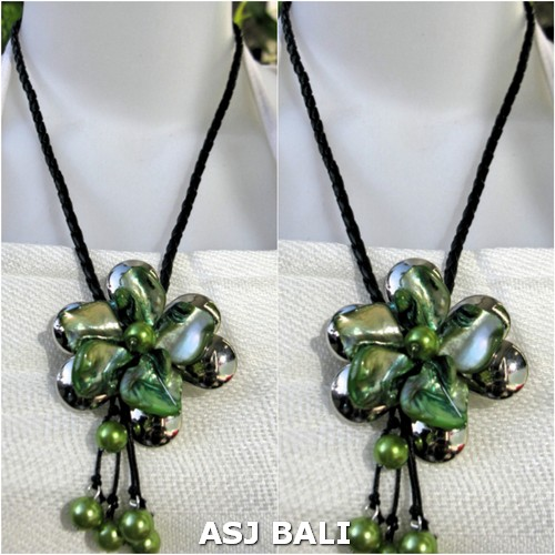 flowers shells necklaces green pendant leather strings