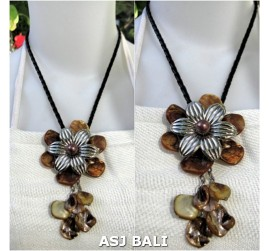flowers shells necklaces pendant brown color leather strings