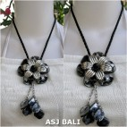 flowers shells necklaces pendant grey leather strings