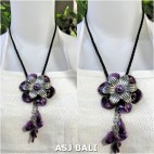 flowers shells necklaces pendant purple leather string
