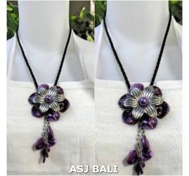 flowers shells necklaces pendant purple leather string