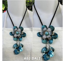 flowers shells necklaces pendant turquoise leather string