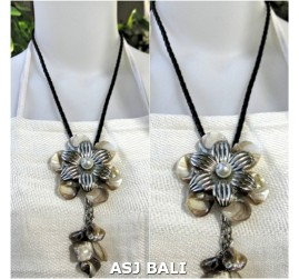 flowers shells necklaces pendant white leather string