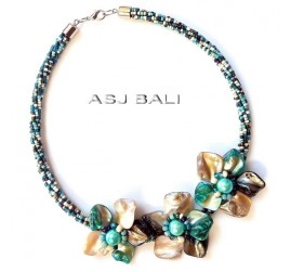mix color beads chokers necklaces flower seashells fashion