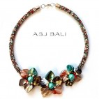 mix color beads chokers necklaces with seashells flower