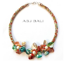 multi color beads necklaces choker with flowers seashells