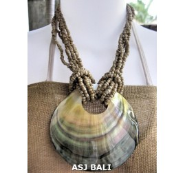 necklaces beads beige multi seeds pendant seashells