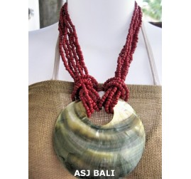 necklaces beads red color multi seeds pendant seashells