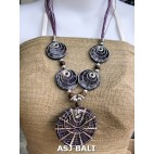 necklaces resin with shells stainless pendant 5coins purple