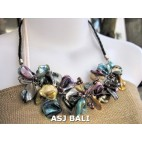 nuged shells beads mix color flowers necklace bali