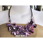 nuged shells beads purple flowers necklace bali