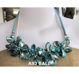 nuged shells beads turquoise flowers necklace bali