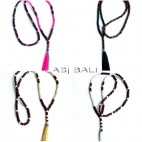 4color different necklaces tassels long strand handmade indonesia