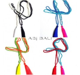 8color necklaces tassels pendant long seeds stone beading design