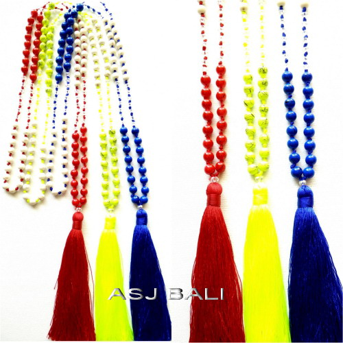 beads stone necklaces tassels long strand fashion accessories
