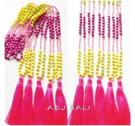 bali design handmade tassels pendant seeds beads stone design