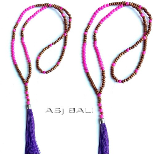 bali handmade wooden bead stone tassels necklace pendant purple