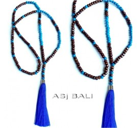bali women tassels necklaces design with wood beads pendant