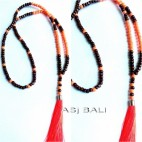 bali wood beads tassels necklace pendant single seeds orange