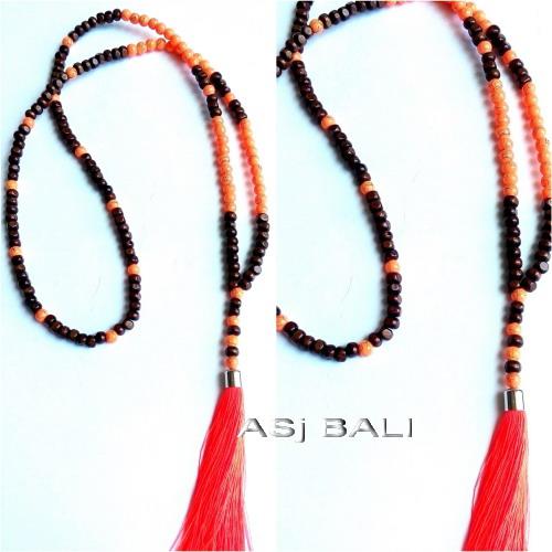 bali wood beads tassels necklace pendant single seeds orange