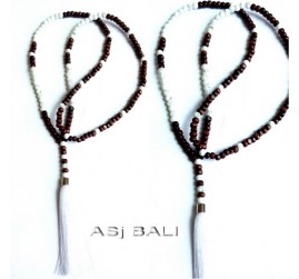 bali wooden bead tassels necklace pendant single strand white
