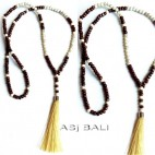 balinese design necklaces tassels pendant wooden natural