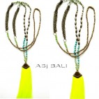 exclusive necklaces tassels golden chain with beads stone