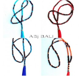 four color wood beaded necklaces tassels balinese handmade