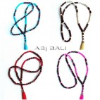 four color wooden beaded necklaces tassels balinese design