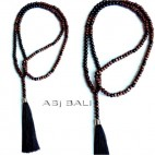 full wooden beads necklaces tassels natural design prayer handmade