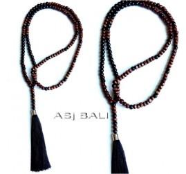 full wooden beads necklaces tassels natural design prayer handmade