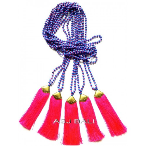 golden caps bronze tassels necklaces beads stone fashion
