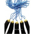 golden caps tassels necklaces long seed beads stone blue