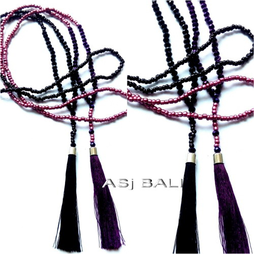 hijab necklaces tassels beads two color crystal design from bali
