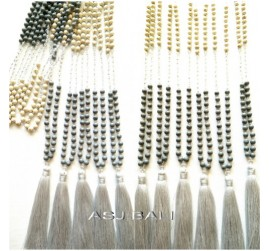natural beads stone necklaces pendant tassels handmade bali