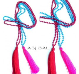 necklaces tassels pendant long seed beaded stone 2colors