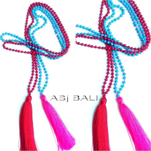 necklaces tassels pendant long seed beading stone 2colors