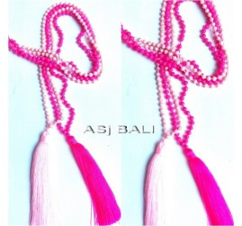 necklaces tassels pendant long seeds beads stone 2colors bali