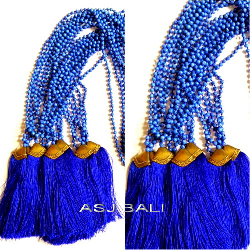 new model tassels necklaces bead blue stone bronze caps gold