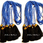 new tassels necklaces bead dark blue stone bronze caps gold