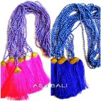 new model tassels necklaces bead stone bronze caps pink blue