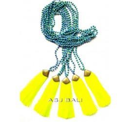 new model tassels pendant necklaces bead stone bronze caps