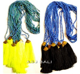 new tassels necklaces bead stone bronze caps yellow black