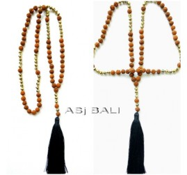 prayer yoga tassels meditation necklaces rudraksha mala wood