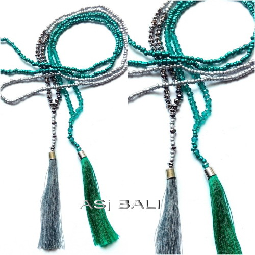 simply beads tassels pendant necklaces jilbab hijaber two color