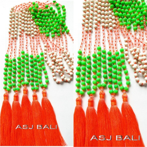 stone beads tassels necklaces long strand combination