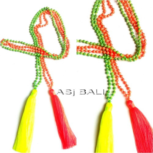 tassels necklaces pendant long strand beads stone 2colors
